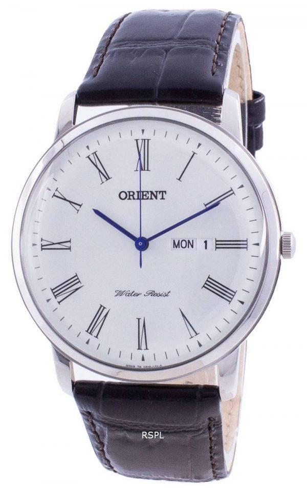 Orient White Dial Black Leather Quartz SUG1R009W6 Men's Watch